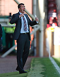 Motherwell boss Jim Gannon yelling on the touchlines