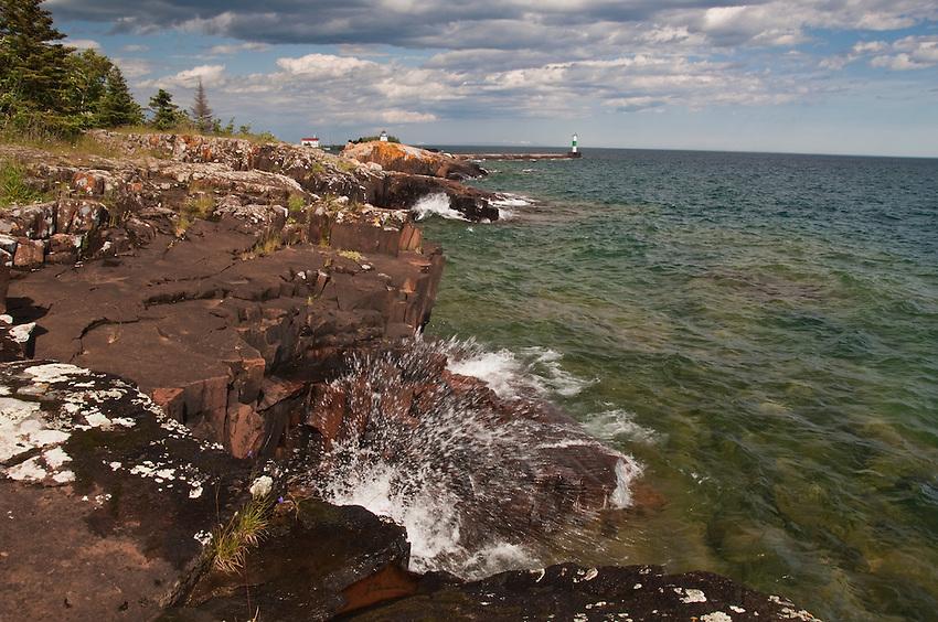 Lake Superior shoreline at Grand Marais Minnesota.