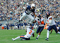 In one of his most famous hurdles of his collegiate career, Penn State RB Saquon Barkley (26) hurdles Illinois CB V'Angelo Bentley (2)  and then powers past two other defenders in the air, during a 7 yard touchdown run. The Penn State Nittany Lions defeated the Illinois Fighting Illini 39-0 at Beaver Stadium in State College, PA.