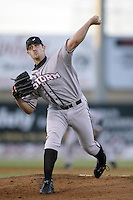 Mark Phillips of the Lake Elsinore Storm pitches during a California League 2002 season game against the High Desert Mavericks at Mavericks Stadium, in Adelanto, California. (Larry Goren/Four Seam Images)