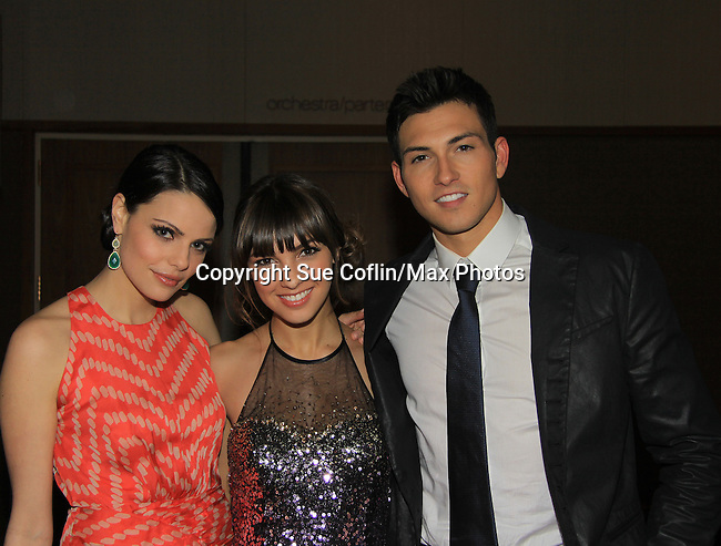 "Prospect Park's All My Children's Denyse Tontz ""Miranda Montgomery"" (C) poses with Jordan Lane Price ""Celia Fitzgerald"" and Robert Scott Wilson ""Pete Cortlandt""  at New York Premiere Event for beloved series ""All My Children"" on April 23, 2013 at NYU Skirball, New York City, New York  as The Online Network (TOLN) - AMC - OLTL  begin airing on April 29, 2013 on Hulu, Hulu Plus. (Photo by Sue Coflin/Max Photos)"