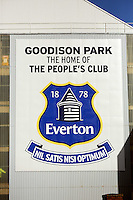 Pictured: Exterior view of Goodison Park. Sunday 16 February 2014<br />