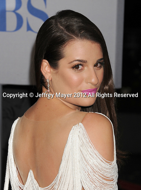 LOS ANGELES, CA - JANUARY 11: Lea Michele arrives at the People's Choice Awards 2012 at Nokia Theatre LA Live on January 11, 2012 in Los Angeles, California.
