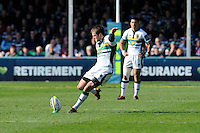 Stephen Myler of Northampton Saints takes a penalty kick during the LV= Cup Final match between Leicester Tigers and Northampton Saints at Sixways Stadium, Worcester on Sunday 18 March 2012 (Photo by Rob Munro, Fotosports International)