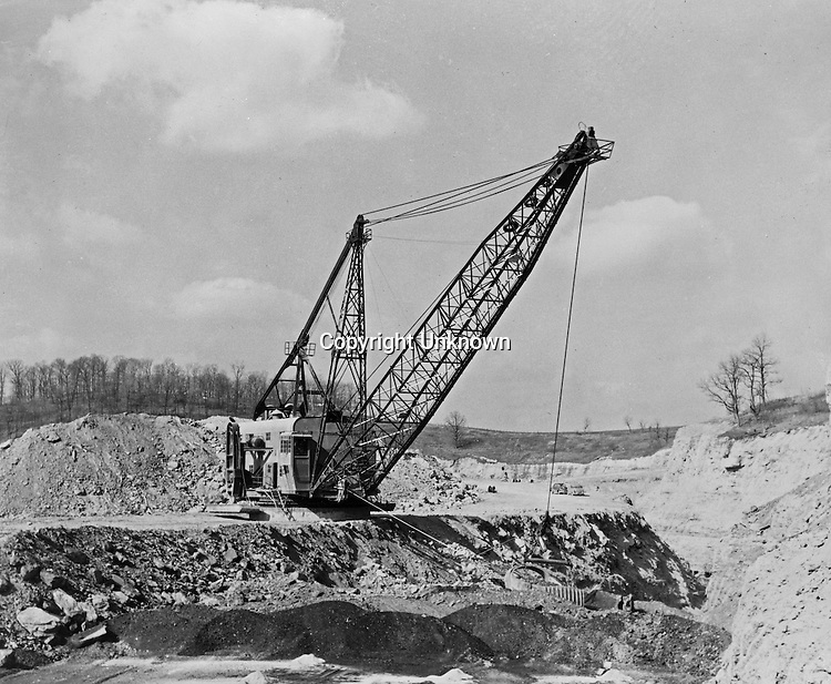 Zelienople, PA:  View of a Tasa Coal Company's Marion Power Drag line - 1956. - The Tasa Coal Co. operated its Mine No. 8 in this area. It was a strip mine operation due to the thinness of the area coal seams.