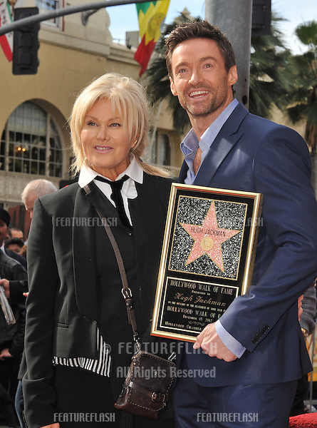 Hugh Jackman & wife Deborra-Lee Furness is honored with the 2,487th star on the Hollywood Walk of Fame..December 13, 2012  Los Angeles, CA.Picture: Paul Smith / Featureflash