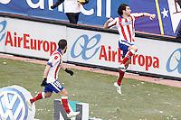 Atletico de Madrid's Tiago Mendes (r) and Arda Turan celebrate goal during La Liga match.February 7,2015. (ALTERPHOTOS/Acero) /NORTEphoto.com