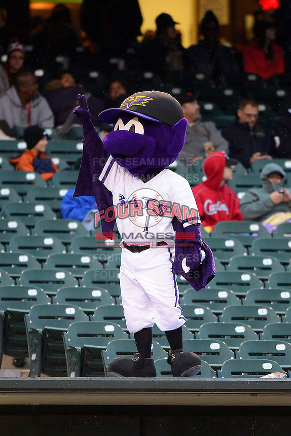 Louisville Bats mascot on top of the dugout during a game against the Indianapolis Indians on April 19, 2013 at Louisville Slugger Field in Louisville, Kentucky.  Indianapolis defeated Louisville 4-1.  (Mike Janes/Four Seam Images)