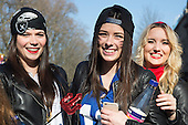 Düsseldorf, Germany. 15 February 2015. Young German women having a good time. Street carnival celebrations take place on Königsallee (Kö) in Düsseldorf ahead of the traditional Shrove Monday parade (Rosenmontagszug).