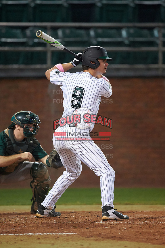 Stetson Hatters first baseman Will Mackenzie (9) at bat during a game against the Siena Saints on February 23, 2016 at Melching Field at Conrad Park in DeLand, Florida.  Stetson defeated Siena 5-3.  (Mike Janes/Four Seam Images)