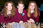 ANSWERS: Aisling Guerin, JJ Lee and Czara Casey from Glenderry National School,answering the question in the Clanmaurice Stage 1 Credit Union Table Quiz on Sunday in Causeway Comprehensive School................