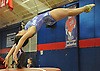 Sydney Izakson of Great Neck South springs from the vault during the eight-team Cartwheel for a Cure gymnastics meet at Cold Spring Harbor High School on Monday, Jan. 16, 2017.
