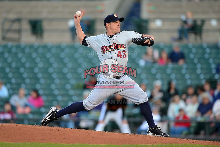 Scranton Wilkes-Barre RailRiders pitcher Jim Miller #43 delivers a pitch during a game against the Rochester Red Wings on June 19, 2013 at Frontier Field in Rochester, New York.  Scranton defeated Rochester 10-7.  (Mike Janes/Four Seam Images)