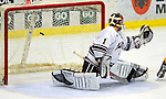 3 January 2009: Colgate Raiders' goaltender Alex Evin, a Freshman from Castlegar, B.C., gives up a third period goal to the Ferris State Bulldogs during the consolation game of the 2009 Catamount Cup Ice Hockey Tournament hosted by the University of Vermont at Gutterson Fieldhouse in Burlington, Vermont. The two teams battled to a 3-3 draw, with the Bulldogs winning a post-game shootout 2-1, thus placing them third in the tournament...Mandatory Photo Credit: Ed Wolfstein Photo