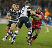 16th March 2018, The AJ Bell Stadium, Salford, England; Betfred Super League rugby, Salford Red Devils versus Hull FC; Robert Lui takes on Marc Sneyd