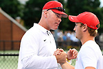 WINSTON SALEM, NC - MAY 22: Head Coach Ty Tucker of the Ohio State Buckeyes congratulates Kyle Seelig after his victory against the Wake Forest Demon Deacons during the Division I Men's Tennis Championship held at the Wake Forest Tennis Center on the Wake Forest University campus on May 22, 2018 in Winston Salem, North Carolina. Wake Forest defeated Ohio State 4-2 for the national title. (Photo by Jamie Schwaberow/NCAA Photos via Getty Images)