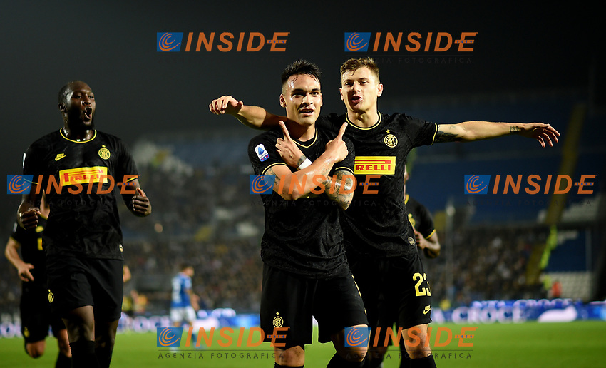 191030 -- BRESCIA, Oct. 30, 2019 Xinhua -- FC Inter s Lautaro Martinez C celebrates his goal during a Serie A soccer match between Brescia and FC Inter in Brescia, Italy, Oct 29, 2019. Photo by Alberto Lingria/Xinhua SPITALY-BRESCIA-SOCCER-SERIE A-INTER MILAN VS BRESCIA PUBLICATIONxNOTxINxCHN <br /> Brescia 29-10-2019 Stadio Mario Rigamonti <br /> Football Serie A 2019/2020 <br /> Brescia - FC Internazionale <br /> Photo Alberto Lingria / Xinhua / Imago  / Insidefoto