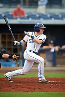 Charlotte Stone Crabs shortstop Alec Sole (6) follows through on a swing during the first game of a doubleheader against the Tampa Yankees on July 18, 2017 at Charlotte Sports Park in Port Charlotte, Florida.  Charlotte defeated Tampa 7-0 in a game that was originally started on June 29th but called to inclement weather.  (Mike Janes/Four Seam Images)