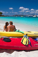 Kayakers on the beach at Honeymoon<br /> Virgin Islands National Park<br /> St. John<br /> U.S. Virgin Islands