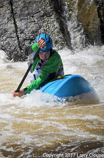 June 8, 2017 - Vail, Colorado, U.S. -  C-1 paddler, Tad Dennis, is completely focused as he works his way through Homestake Creek's difficult course in the Steep Creek competition during the GoPro Mountain Games, Vail, Colorado.  Adventure athletes from around the world meet in Vail, Colorado, June 8-11, for America's largest celebration of mountain sports, music, and lifestyle.