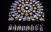 Paris: Abbey (Basilica) of Saint-Denis--rose window in South Transept. Photo '90.