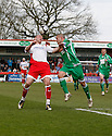 Chris Beardsley of Stevenage Borough and Paul Stonehouse of Forest Green Rovers challenge for a header during the Blue Square Premier match between Stevenage Borough and Forest Green Rovers at the Lamex Stadium, Broadhall Way, Stevenage on Saturday 10th April, 2010 ..© Kevin Coleman 2010