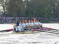 Mortlake/Chiswick, GREATER LONDON. United Kingdom. 2017 Men's Boat Race winners OUBC held over,The Championship Course, Putney to Mortlake on the River Thames.<br /> <br /> Crew: Oxford, Bow: William Warr, 2: Matthew O&rsquo;Leary &ndash; USA, 3: Oliver Cook, 4: Joshua Bugaski, 5: Olivier Siegelaar &ndash; NED, 6: Michael DiSanto &ndash; USA, 7: James Cook, Stroke: Vassilis Ragoussis, Cox: Sam Collier <br /> <br /> Cambridge; Bow: Ben Ruble &ndash; USA, 2: Freddie Davidson, 3: James Letten &ndash; USA., 4: Tim Tracey &ndash; USA., 5: Aleksander Malowany &ndash;CAN., 6: Patrick Eble &ndash; USA, 7: Lance Tredell, Stroke: Henry Meek and Cox: Hugo Ramambason &ndash; <br /> <br /> <br /> Sunday  02/04/2017<br /> <br /> [Mandatory Credit; Intersport Images]