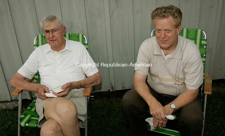HARWINTON,  CT 07 August 2005 -080705BZ11- From left- Ray Neski, of Harwinton; and John McNabney, of Harwinton<br /> <br /> at the Harwinton Historical Society 23rd annual Ice Cream Social Sunday.  <br /> Jamison C. Bazinet Photo