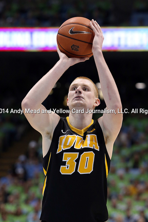 03 December 2014: Iowa's Aaron White. The University of North Carolina Tar Heels played the University of Iowa Hawkeyes in an NCAA Division I Men's basketball game at the Dean E. Smith Center in Chapel Hill, North Carolina. Iowa won the game 60-55.