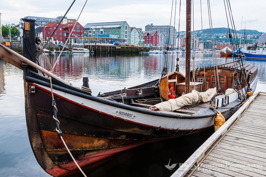 Norway, Sør-Trøndelag, Trondheim. Old veteran boats at Fosenkaia.