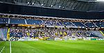 Solna 2014-07-24 Fotboll Europa League AIK - Linfield FC :  <br /> Vy mot ena kortsidan p&aring; Friends Arena med AIK:s supportrar och tomma l&auml;ktarsektioner runt om<br /> (Foto: Kenta J&ouml;nsson) Nyckelord:  AIK Gnaget Friends Arena Linfield LFC Europa League Kval inomhus interi&ouml;r interior supporter fans publik supporters