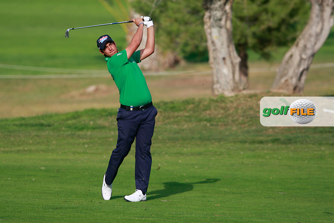 Matteo Manassero (ITA) plays his 2nd shot on the 15th hole during Friday's Round 2 of the Castello Masters at the Club de Campo del Mediterraneo, Castellon, Spain, 21st October 2011 (Photo Eoin Clarke/www.golffile.ie)
