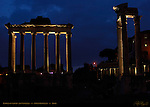 Temples of Saturn and Vespasian at night Forum Romanum Rome