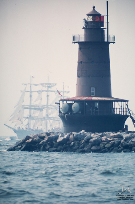 Historic Op Sail 1976 photograph.  Available for sale at the National Lighthouse Museum upon inquiry, Staten Island.  Mounted 3 x 4 foot Fine art print: Acrilyc / Plexiglass front archival print, Sintra backing and structural metal offset and hangar.  $3000, inquire at the Museum plus tax and shipping.