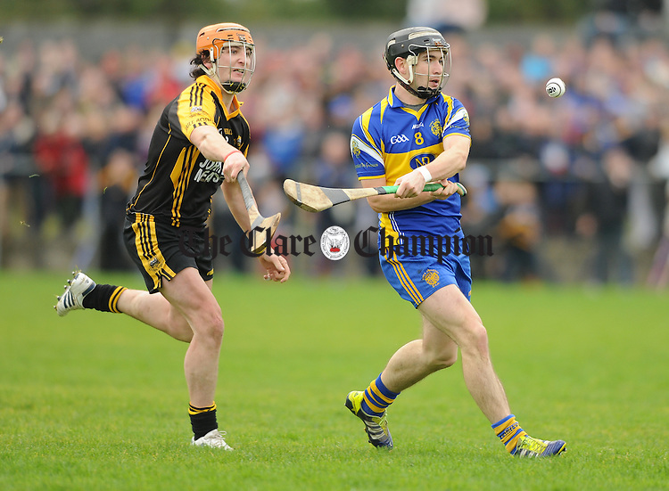 Eoin Hayes of Newmarket in action against Cathal Doohan of Ballyea during their semi-final at Clarecastle. Photograph by John Kelly.