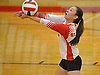 Brianna Medina #7 of St. John the Baptist keeps a ball in play during a CHSAA varsity girls volleyball match against Sacred Heart Academy at St. John the Baptist High School in West Islip on Thursday, Oct. 12, 2017. Sacred Heart won the match 3-0.