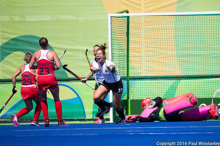 Marie Mavers #23 of Germany celebrates scoring the first goal during USA vs Germany in a women's quarterfinal game at the Rio 2016 Olympics at the Olympic Hockey Centre in Rio de Janeiro, Brazil.