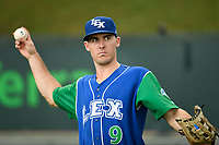 Designated hitter Cal Jones (9) of the Lexington Legends warms up before a game against the Greenville Drive on Sunday, September 2, 2018, at Fluor Field at the West End in Greenville, South Carolina. Greenville won, 7-4. (Tom Priddy/Four Seam Images)