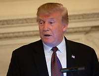 United States President Donald J. Trump makes remarks as he hosts an Iftar dinner in the State Dining Room of the White House in Washington, DC on Monday, May 13, 2019. Photo Credit: Chris Kleponis/CNP/AdMedia