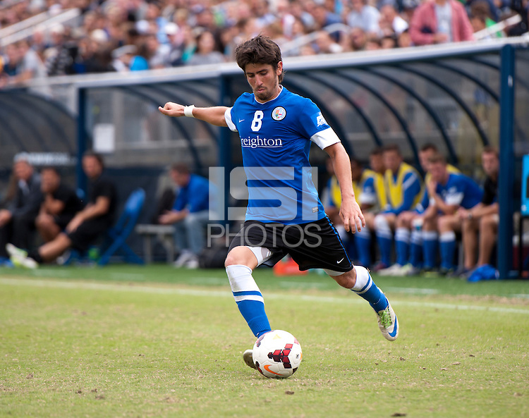 Jose Ribas (8) of Creighton crosses the ball into the box during the game at Shaw Field on the campus of the Georgetown University in Washington, DC.  Georgetown tied Creighton, 0-0, in double overtime.