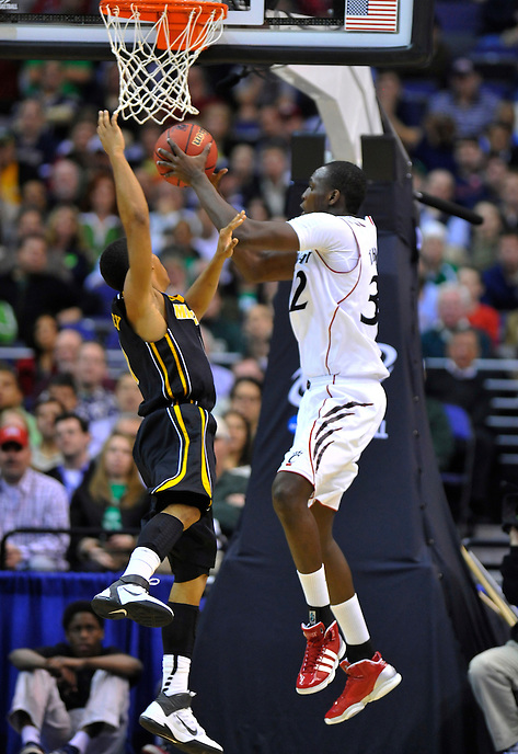 Ibrahima Thomas of the Bearcats grabs the offensive rebound. Cincinnati defeated Missouri 78-63 during the NCAA tournament at the Verizon Center in Washington, D.C. on Thursday, March 17, 2011. Alan P. Santos/DC Sports Box