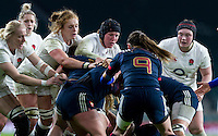 Forwards in action, LtoR Tamara Taylor, (Natasha Hunt) Harriet Millar-Mills, Rochelle Clark and Laura Keates, England Women v France Women in a 6 Nations match at Twickenham Stadium, London, England, on 4th February 2017 Final Score 26-13.