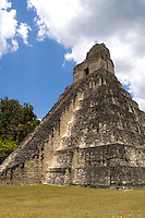 Tower 1 at the famous Mayan Ruins in the Gran Plaza showing the civilization of historical Maya Indians at remote village of Tikal Guatemal