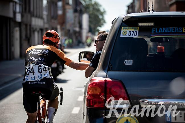 Stijn Steels (BEL/Roompot Charles) in consultation with Nick Nuyens. <br /> <br /> 94th Schaal Sels 2019<br /> One Day Race: Merksem  >  Merksem  (UCI 1.1)<br /> ©kramon