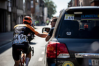 Stijn Steels (BEL/Roompot Charles) in consultation with Nick Nuyens. <br /> <br /> 94th Schaal Sels 2019<br /> One Day Race: Merksem  >  Merksem  (UCI 1.1)<br /> ©kramon