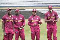 The West Indies  players congregate after the rain break and before the short re start during South Africa vs West Indies, ICC World Cup Warm-Up Match Cricket at the Bristol County Ground on 26th May 2019