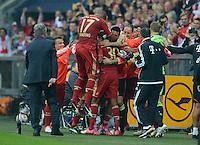 FUSSBALL   1. BUNDESLIGA  SAISON 2012/2013   2. Spieltag FC Bayern Muenchen - VfB Stuttgart      02.09.2012 Jubel nach dem Tor Xherdan Shaqiri, Jerome Boateng, Luiz Gustavo (v. li., FC Bayern Muenchen)