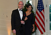 Stephen Miller and Katie Waldman arrive for the State Dinner hosted by United States President Donald J. Trump and First lady Melania Trump in honor of Prime Minister Scott Morrison of Australia and his wife, Jenny Morrison, at the White House in Washington, DC on Friday, September 20, 2019.<br /> Credit: Ron Sachs / Pool via CNP