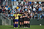 The High Point Panthers huddle up during a stoppage in play during the second half of their match against the North Carolina Tar Heels at Koka Booth Stadium on November 11, 2017 in Cary, North Carolina.  The Tar Heels defeated the Panthers 3-0.   (Brian Westerholt/Sports On Film)