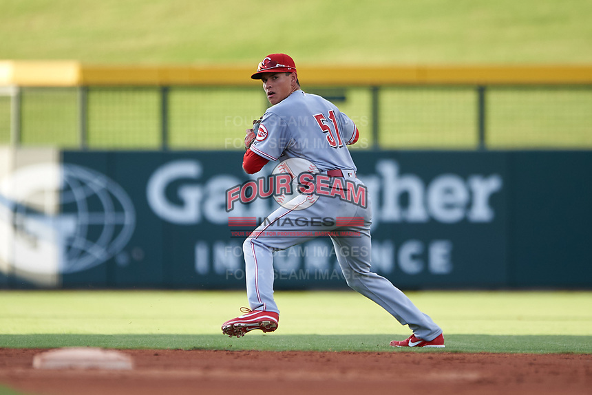 AZL Reds shortstop Yan Contreras (51) prepares to throw to first base during an Arizona League game against the AZL Cubs 2 on July 23, 2019 at Sloan Park in Mesa, Arizona. AZL Cubs 2 defeated the AZL Reds 5-3. (Zachary Lucy/Four Seam Images)